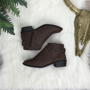White Mountain Dustin Brown Buckle Ankle Booties